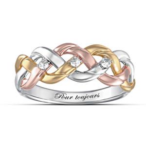 Three-Cord Tri-Colour Diamond Christian Ring