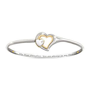Heart Engraved Diamond Bracelet For Daughter