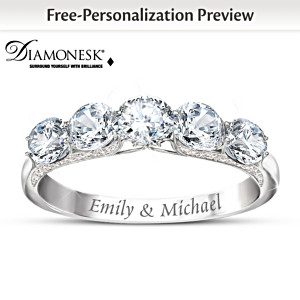 Diamonesk Name-Engraved Anniversary Ring