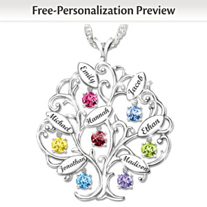 Personalized Tree-Design Necklace With Names And Birthstones