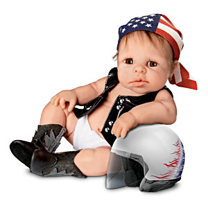 "Sherry Rawn ""Born To Ride"" Lifelike Baby Biker Doll"