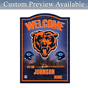 Chicago Bears Wooden Welcome Sign Personalized With Name
