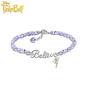 Disney Tinker Bell Believe Silk Cord Bracelet With Crystals