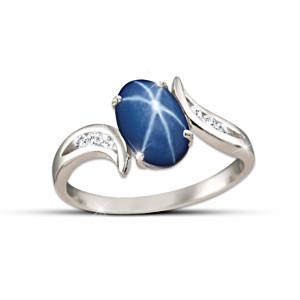 """Sky Gazer"" Created Star Sapphire And White Topaz Ring"