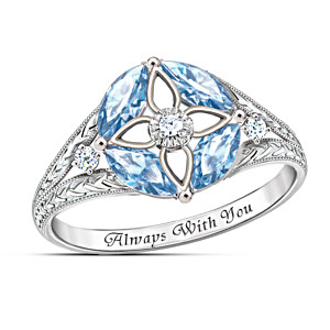 """""""Light Of Faith"""" Blue Topaz And Diamond Sterling Silver Ring"""