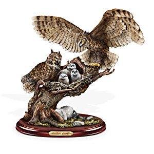 """Woodland Guardian"" Lifelike Wild Owl Family Sculpture"
