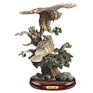 """Silent Sentry"" Lifelike Wild Owl Family Sculpture"