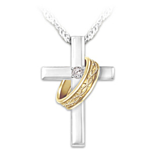 "Cross And ""Crown Of Thorns"" Ring Diamond Pendant Necklace"