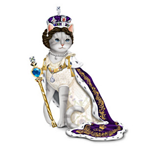 """Coronation Of Eliz-purr-beth"" Cat Figurine With Faux Jewels"