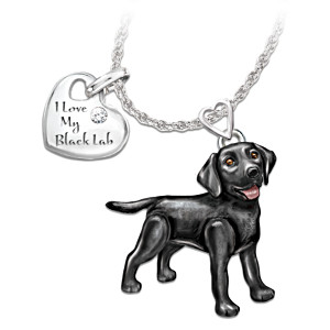 Black Lab Diamond Necklace With Movable Legs And Tail