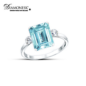 """Aqua Allure"" Princess Diana Commemorative Diamonesk Ring"