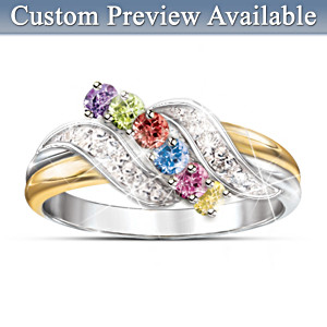 Personalized Birthstone And White Topaz Ring For Mothers