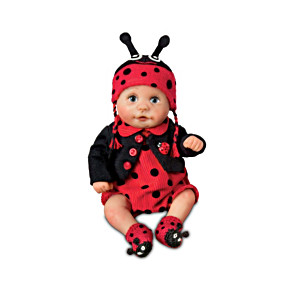 Miniature Realistic Baby Doll With Ladybug Hat And Outfit