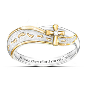 """Footprints In The Sand"" Diamond Cross Engraved Ring"