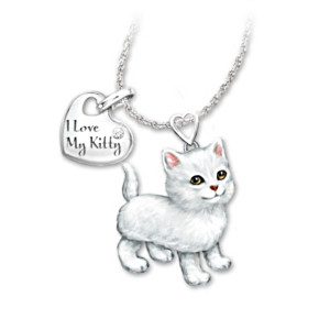 White Cat Diamond Pendant Necklace: Legs & Tail Move