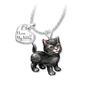 Black Cat Diamond Pendant Necklace: Legs & Tail Move