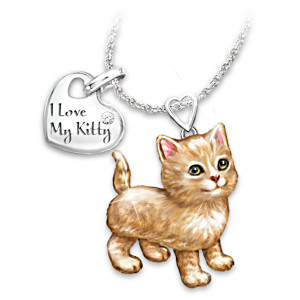 """Frisky Kitty"" Diamond Pendant Necklace: Legs & Tail Move"