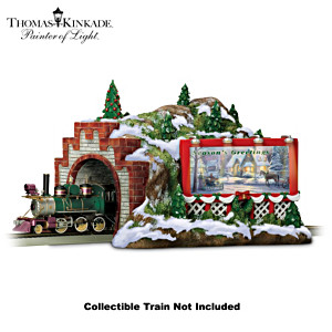Thomas Kinkade Illuminated Christmas Mountain Train Tunnel