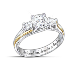 """""""Je suis a toi"""" Engraved White Topaz Couples Ring"""