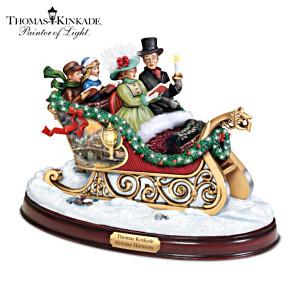 """Thomas Kinkade """"Holiday Harmony"""" Illuminated Singing Sleigh"""
