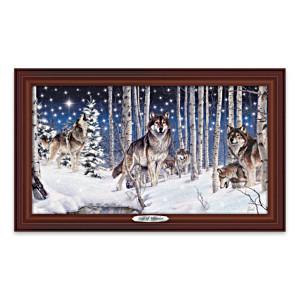 Al Agnew Illuminated Framed Wolf Art Canvas Print