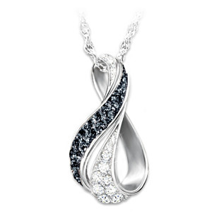 """Midnight Serenade"" Black And White Diamond Pendant Necklace"
