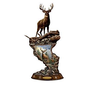 Joseph Hautman Cold-Cast Bronze Whitetail Deer Sculpture