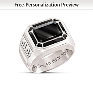 """My Son, My Pride, My Joy"" Monogrammed Black Onyx Ring"