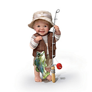 Fisherman Boy Doll With Rod, Reel And Sculpted Bass
