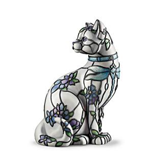 "Louis Comfort Tiffany-Inspired ""SophistiCat"" Cat Accent Lamp"
