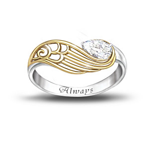 """Always With You"" White Topaz Engraved Ring With Poem Card"