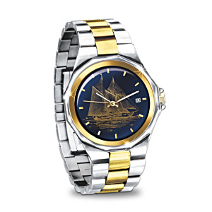 """""""The Bluenose"""" Stainless Steel Engraved Men's Watch"""