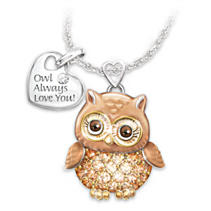 Granddaughter Owl Always Love You Swarovski Crystal Pendant