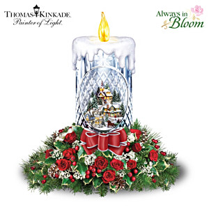 Thomas Kinkade Holiday Bouquet Crystal Candle Centerpiece