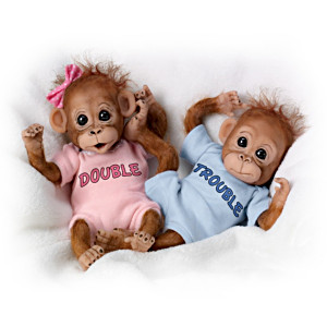 Double Trouble Poseable Baby Orangutan Twins With Wispy Hair