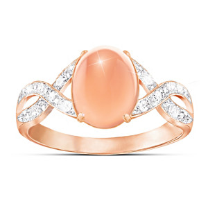 """Sweet Sorbet"" Diamond And Peach Moonstone Ring"