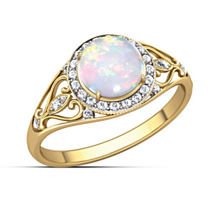 """Opal Sunrise"" Ring With White Topaz"