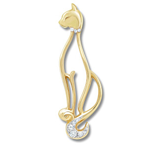 Purrfect Sophistication 18K Gold-Plated Brooch With Crystals
