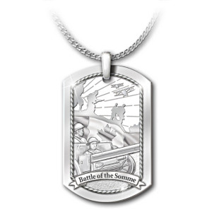 """The Battle Of The Somme"" Dog Tag Tribute Pendant Necklace"