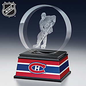 Montreal Canadiens® Laser-Etched Glass Puck Sculpture