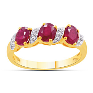 """Passion"" 3 Ruby & 12 Diamond Women's Ring"