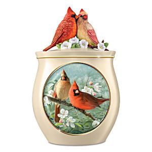 "Joseph Hautman ""Sweet Tweets"" Cardinal Ceramic Cookie Jar"