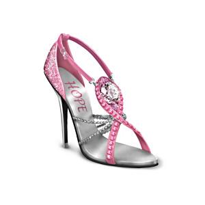 Breast Cancer Awareness Shoe Figurine With Swarovski Crystal