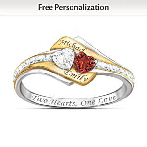 Two Hearts Become One Engraved Topaz, Garnet & Diamond Ring