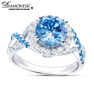 """Blue Lagoon"" Blue And White Diamonesk Women's Ring"