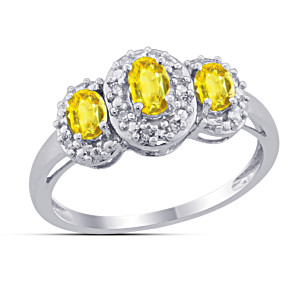 """Celebration"" Sterling Silver Yellow Sapphire & Diamond Ring"
