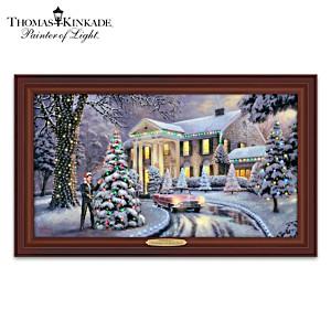 "Thomas Kinkade ""Christmas At Graceland"" Lighted Canvas Print"