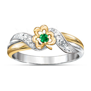 """Lucky Shamrock"" Emerald And Diamond Embrace Ring"
