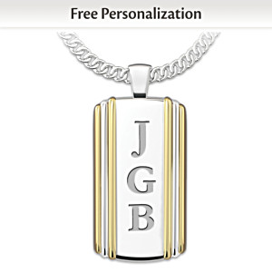 """Always My Son"" Initials-Engraved Dog Tag Pendant Necklace"