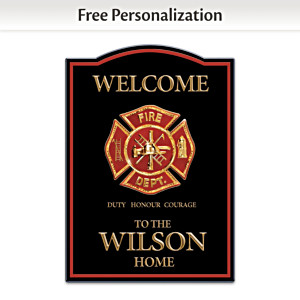 Firefighter Wooden Welcome Sign Personalized With Name